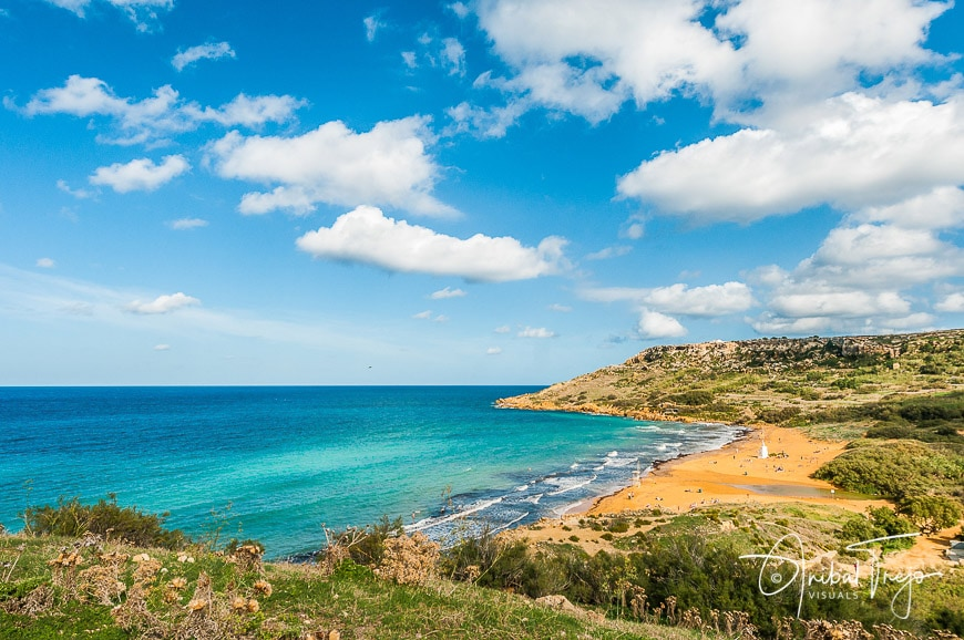 Ramla Beach, the Red Sandy Beach, with it's particularly golden-reddish sand located on the northern side of the Maltese island of Gozo.