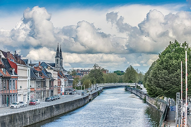 Escaut River passing through Tournai in Belgium.