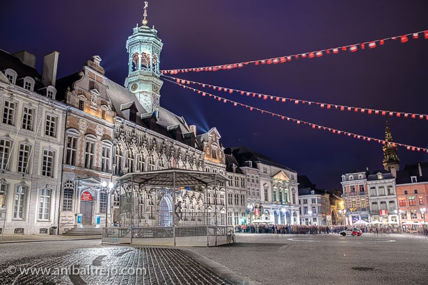 The central square and town hall in Mons, Belgium.