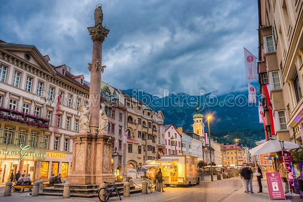 INNSBRUCK, AUSTRIA - AUG 14: St Anne Column (Annasaule) is a statue of the Virgin Mary in Maria-Theresien Street and one of its most famous landmarks on Aug 14, 2013 in Innsbruck, Austria. (Anibal Trejo)
