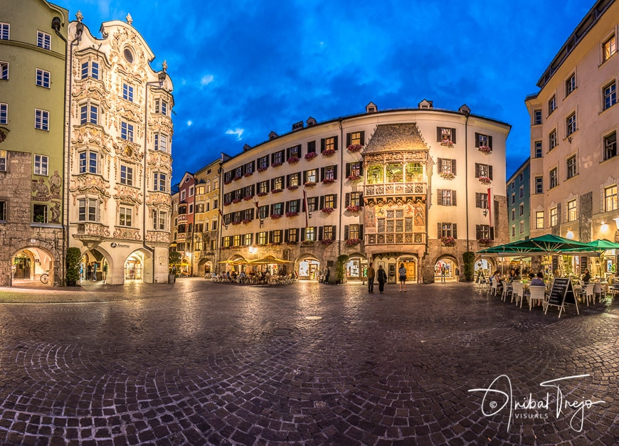 INNSBRUCK, AUSTRIA - AUG 14: The Golden Roof, ornamented with 2,738 fire-gilded copper tiles for Emperor Maximilian I to mark his wedding to Bianca Sforza on Aug 14, 2013 in Innsbruck, Austria.