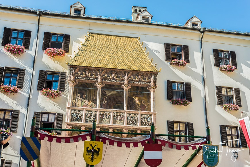 The Goldenes Dachl (Golden Roof), completed in 1500 with 2,738 fire-gilded copper tiles for Emperor Maximilian I to mark his wedding to Bianca Maria Sforza in Innsbruck, Austria.