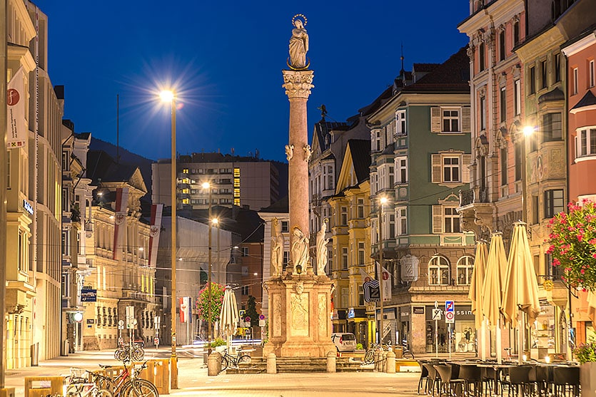 INNSBRUCK, AUSTRIA - AUG 16: St Anne Column (Annasaule) is a statue of the Virgin Mary in Maria-Theresien Street and one of its most famous landmarks on Aug 16, 2013 in Innsbruck, Austria.