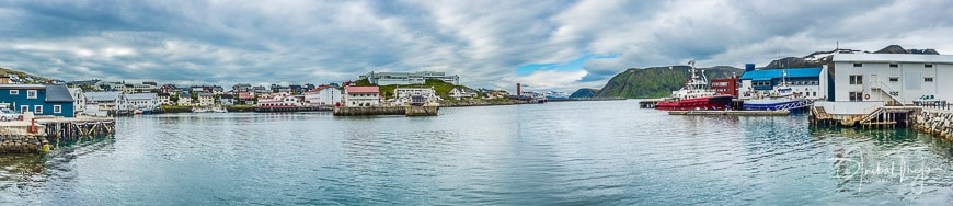 Port of Honningsvag, where all the cruise ships in the summer months stops in Finmark, Norway.