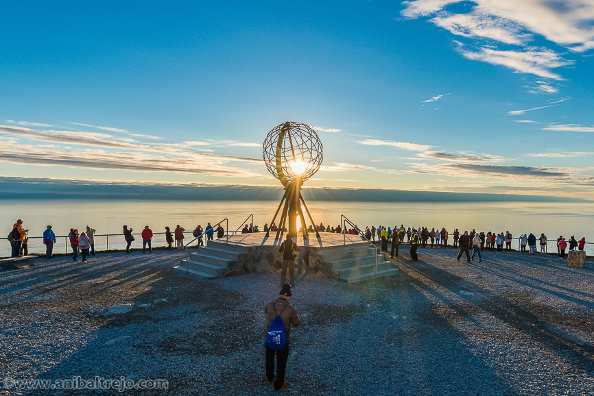 Midnight sun at North Cape (Nordkapp), on the northern coast of the island of Magerøya in Finnmark, Northern Norway.