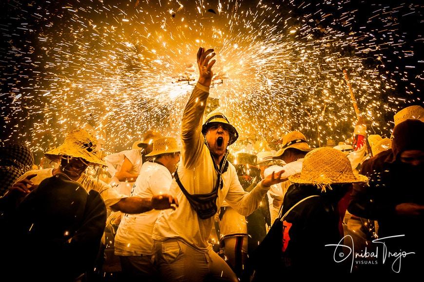 CERVERA, ES - AUGUST 28, 2014: Correfoc (Firerun) performance on Dijous de Gras celebrations within the Aquelarre.