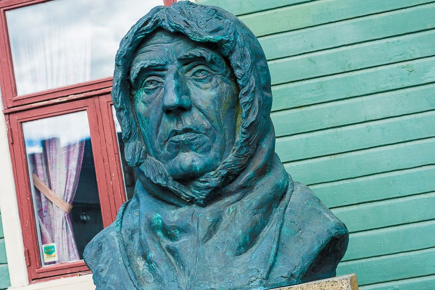 Statue of Roalf Amundsen in Tromso, Norway.