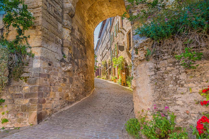 Street view of Cordes-sur-Ciel, France.