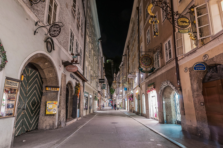 Getreidegasse shopping street in the Old-Town of Salzburg, Austria